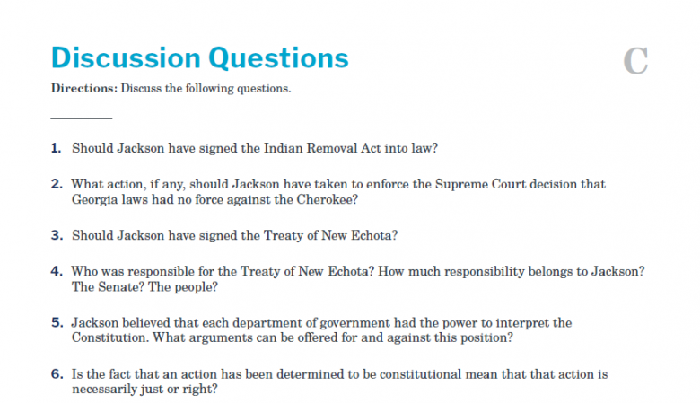 Presidents and the Constitution Handout C Discussion Questions (Indian Removal)