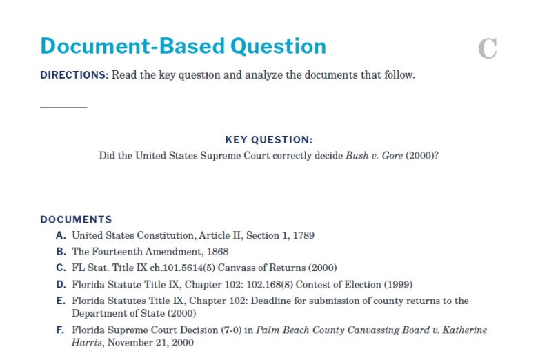 Presidents and the Constitution Handout C Document-Based Question (Bush v Gore 2000)
