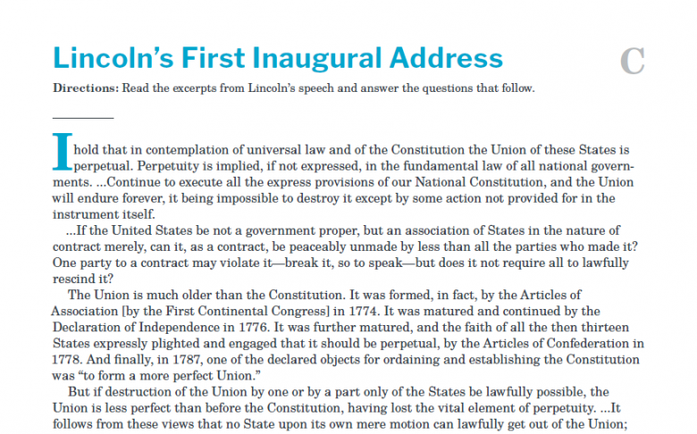 Presidents and the Constitution Handout C Lincoln's First Inaugural Address
