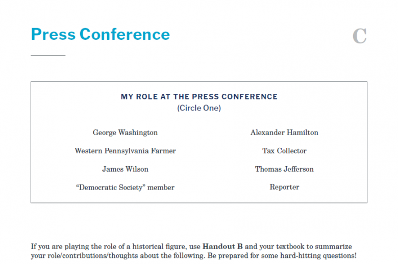 Presidents and the Constitution Handout C Press Conference The Whiskey Rebellion