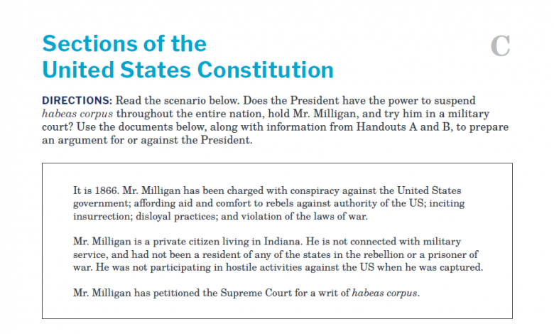Presidents and the Constitution Handout C Sections of the United States Constitution