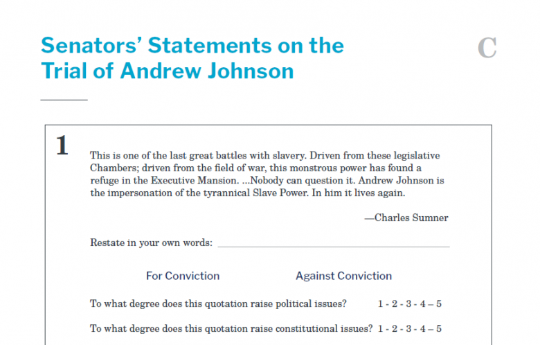Presidents and the Constitution Handout C Senators Statements on the Trial of Andrew Johnson