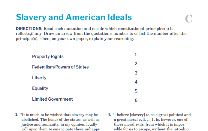 Presidents and the Constitution Handout C Slavery and American Ideals