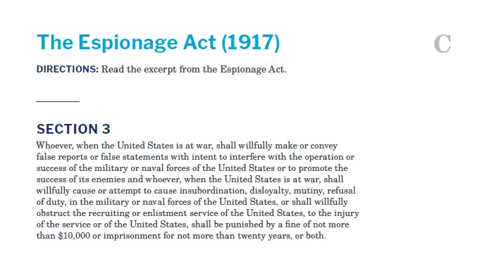 Presidents and the Constitution Handout C The Espionage Act 1917