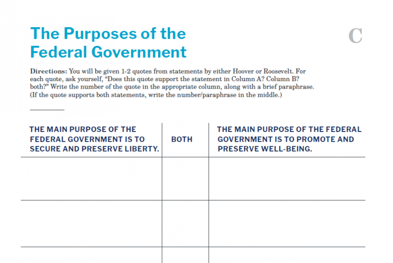 Presidents and the Constitution Handout C The Purposes of the Federal Government