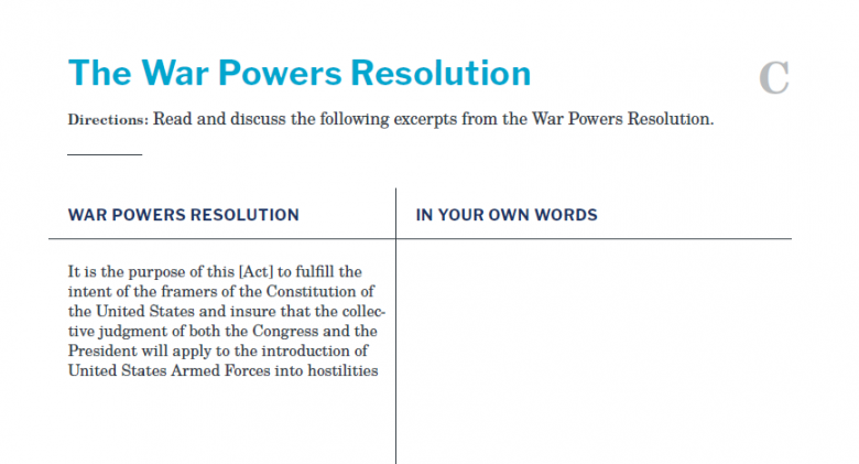 Presidents and the Constitution Handout C The War Powers Resolution