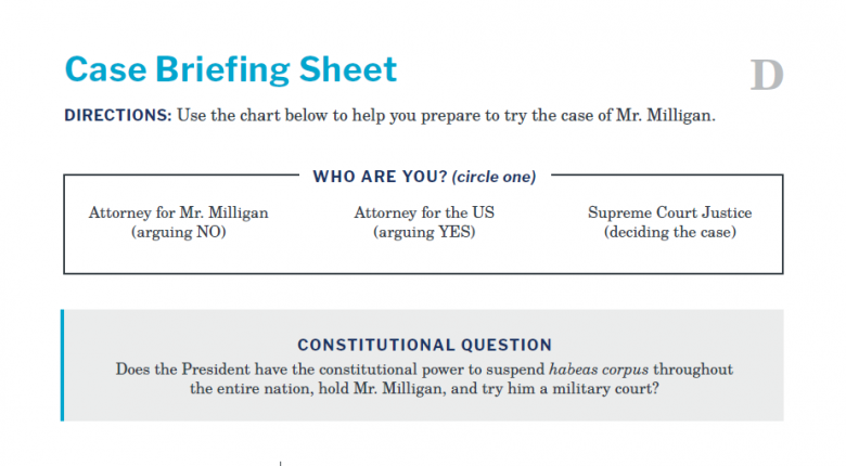 Presidents and the Constitution Handout D Case Briefing Sheet