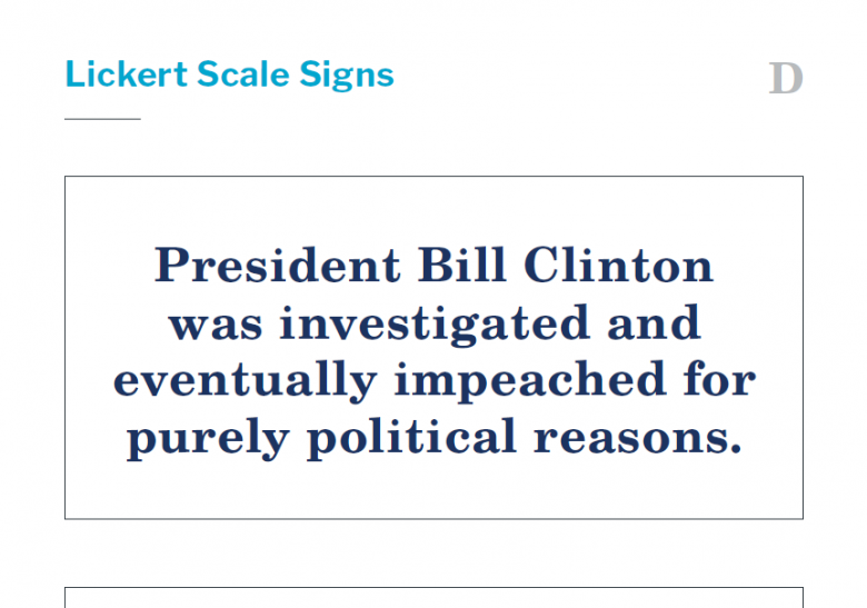 Presidents and the Constitution Handout D Lickert Scale Signs (The Impeachment of Bill Clinton)