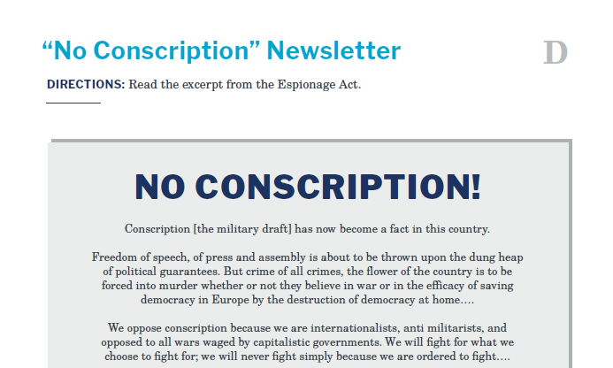 Presidents and the Constitution Handout D No Conscription Newsletter