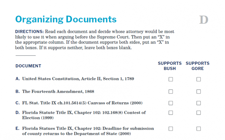 Presidents and the Constitution Handout D Organizing Documents (Bush v Gore 2000)