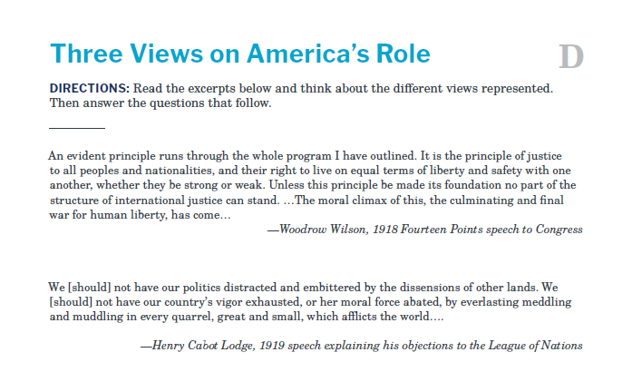 Presidents and the Constitution Handout D Three Views on America's Role