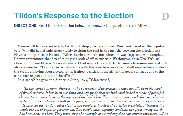 Presidents and the Constitution Handout D Tildon's Response to the Election