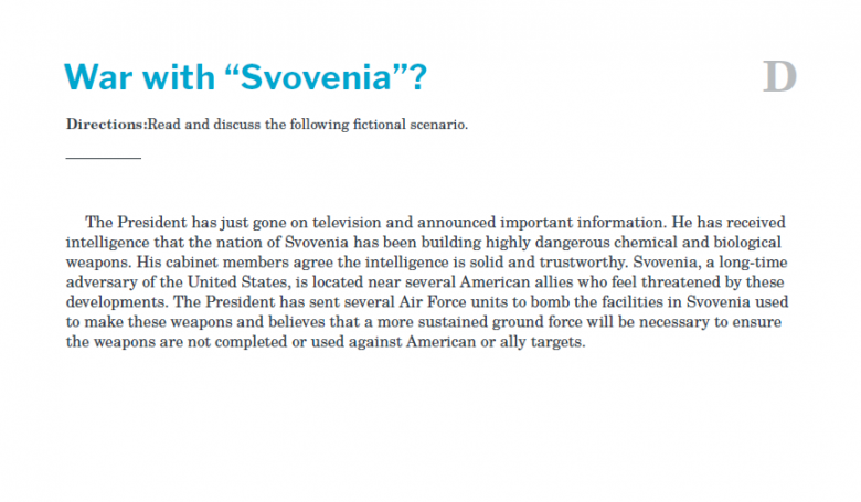 Presidents and the Constitution Handout D War with Svovenia