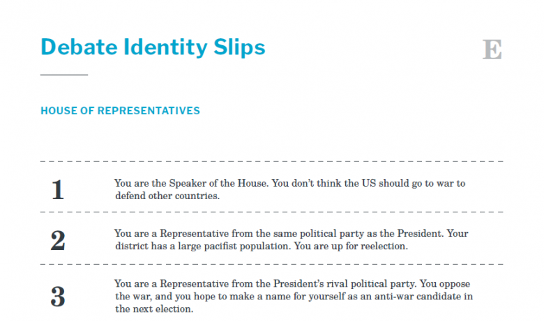 Presidents and the Constitution Handout E Debate Identity Slips (War Powers Resolution)