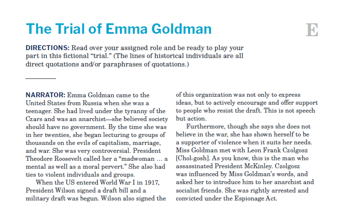 Presidents and the Constitution Handout E The Trial of Emma Goldman