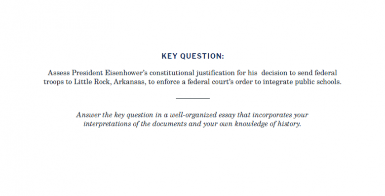 Presidents and the Constitution Key Question Essay Prompt (Little Rock Crisis)