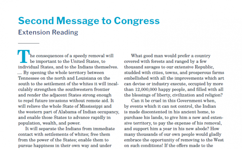 Presidents and the Constitution Second Message to Congress Extension Reading (Indian Removal)