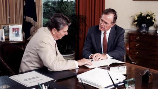 Ronald Reagan and George HW Bush