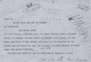 Telegram From Little Rock Mayor Mann to President Eisenhower September 23 1957 1