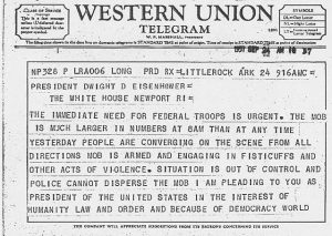 Telegram from Mayor Mann to President Eisenhower September 24 1957 1