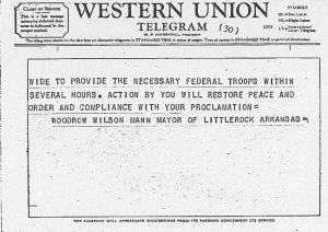 Telegram from Mayor Mann to President Eisenhower September 24 1957 2