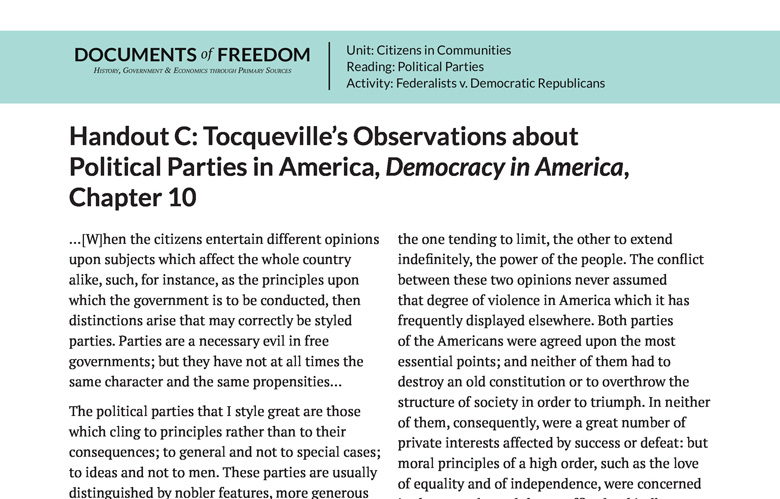 Handout C Tocqueville S Observations About Political Parties In America Democracy In American Chapter 10 Bill Of Rights Institute